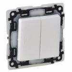 Legrand Valena LIFE вимикач 2-х клавішний автоматичні клеми IP44 білий