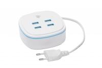 2E Мережевий ЗП на 4 USB Output A/B/C/D: DC5.0V /4.2A, cable 1.27m, white