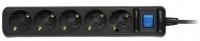 2E Мережевий фільтр 5XSchuko з вимикачем 3G1.0 * 3M, чорний