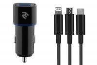 2E Набір Автомобільний ЗП 2хUSB 2.4A + кабель 3в1 Lightning / microUSB / Type-C), black