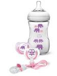 Avent Набір для годування Natural - Слоники 6+ (рожевий)