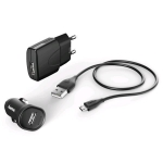 HAMA Комплект ЗП 3в1, 2х1А., кабель micro USB 1.4 м., black