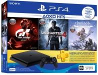 PlayStation 4 Slim 500 Gb Black (HZD+GTS+UC4+PSPlus 3М)