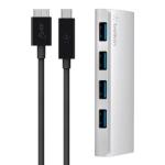 Belkin USB 3.0, Ultra-Slim Metal, 4 порта + USB-C кабель, активный с БП