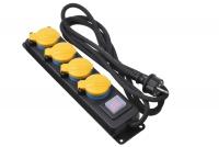 2E Мережевий фільтр 4XSchuko ІР44 із захистом, вимикачем 3G1.5*3M, Чорний