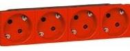 Legrand MOSAIC розетка 4XSchuko под углом 45° 16А 250В автомат клеммы (8мод) красный