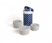 Nuvita Термос металевий для їжі (1200мл. 3 контейнера, синій із візерунком)
