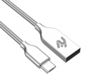 2E USB 2.4 MicroUSB Data/Charge Spring Metal 1m, Silver