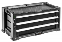 Neo Tools 84-227 Шафа iнструментальна, 3 шухляди, ручки, 24 контейнери, блокування, мiсце для замка