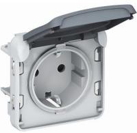 Legrand Plexo механизм розетки електр 16А, Schuko, 250В, ІР55, ІК07 c крышкой, винтов зажимы серый