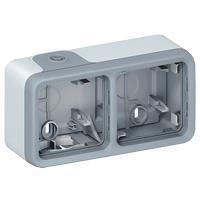 Legrand Коробка для накл.монт. 2-х пост, горизонт (з сальниками) ІР55, ІК07 (сірий), Plexo