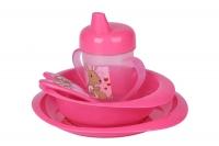 Nuvita Набір для годування 12м+ 5 предметів (рожевий)