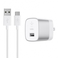 Belkin Сетевое ЗУ USB-3.0 Quick Charge with USB-A to USB- Cable 1.2m, 18W, Silver