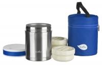 Nuvita Термос металевий для їжі (1000мл, 2 контейнера, нерж. сталь, з термосумкою)