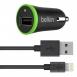 Belkin Автомобильное ЗУ USB BoostUp Charger (LIGHTNING сable, USB 2.4Amp), Черный