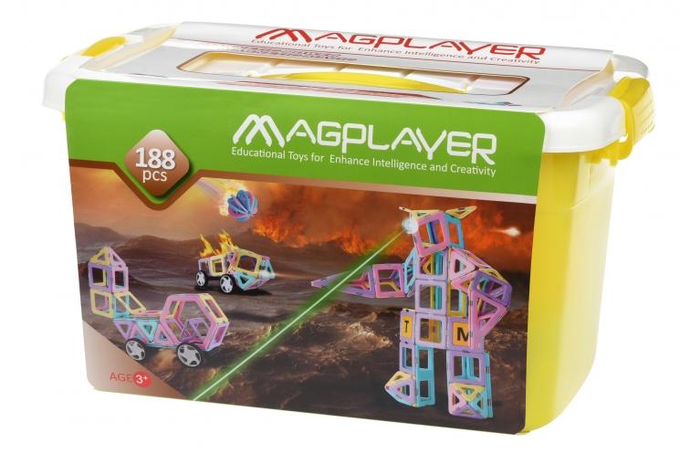 MagPlayer Конструктор магнитный набор бокс 188 эл. (MPT2-188