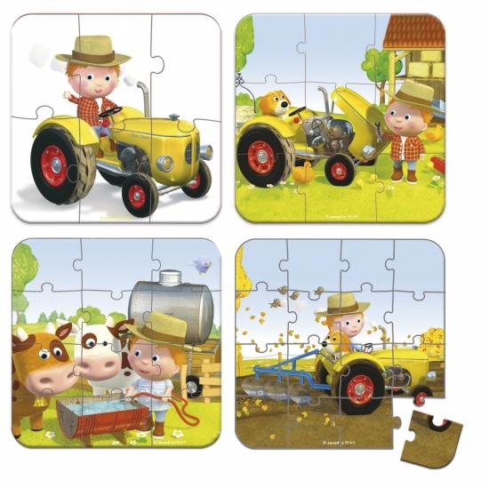 Janod Набор из 4 пазлов Питер и его трактор