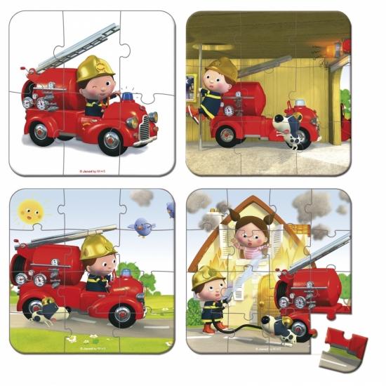 Janod Набор из 4 пазлов Лео и его пожарная машина