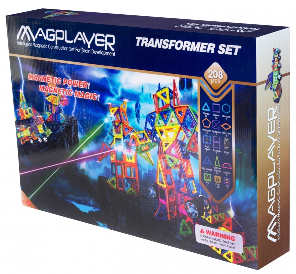 MagPlayer Конструктор магнитный 208 ед. (MPB-208)
