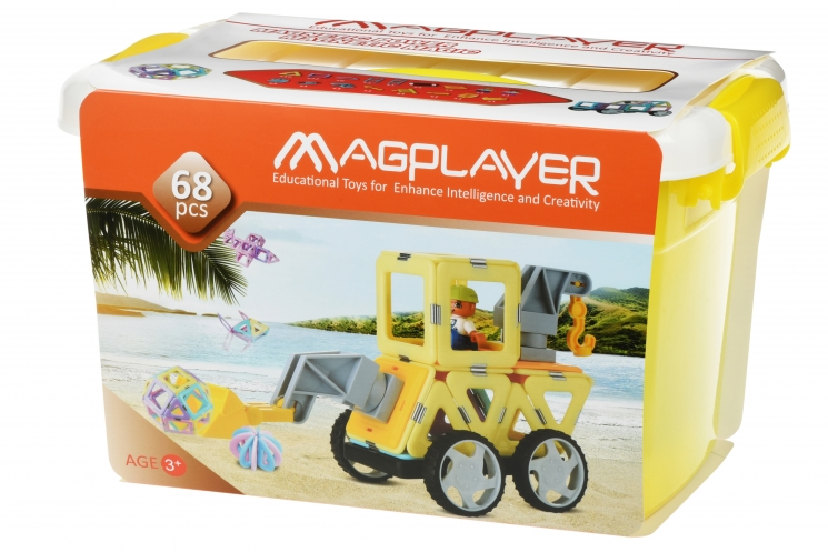MagPlayer Конструктор магнитный набор бокс 68 эл. (MPT2-68)
