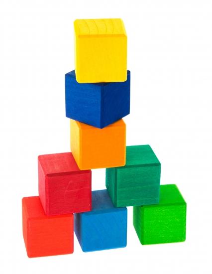 nic Конструктор деревянный - Разноцветный кубик