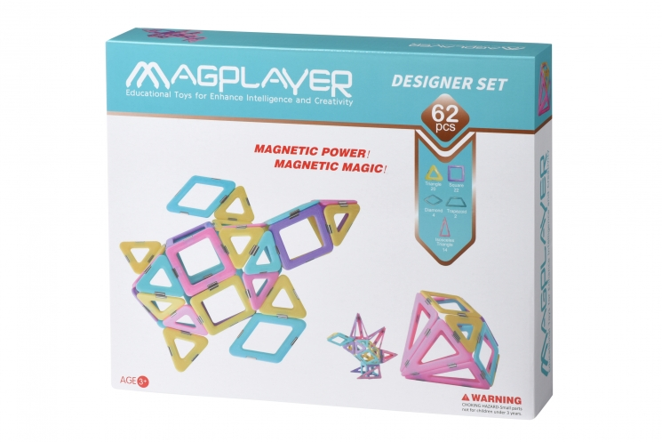 MagPlayer Конструктор магнитный набор 62 эл. (MPH2-62)