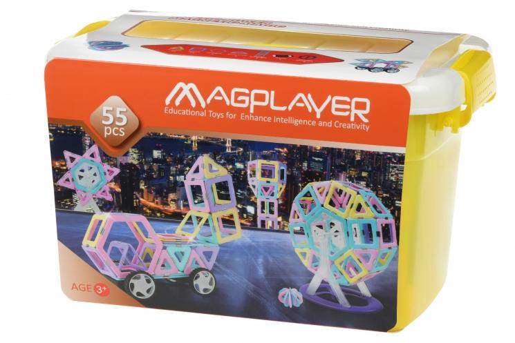 MagPlayer Конструктор магнитный набор бокс 55 эл. (MPT2-55)