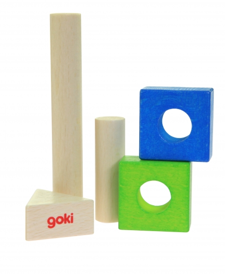 goki Конструктор деревянный Строительные блоки (розовый)