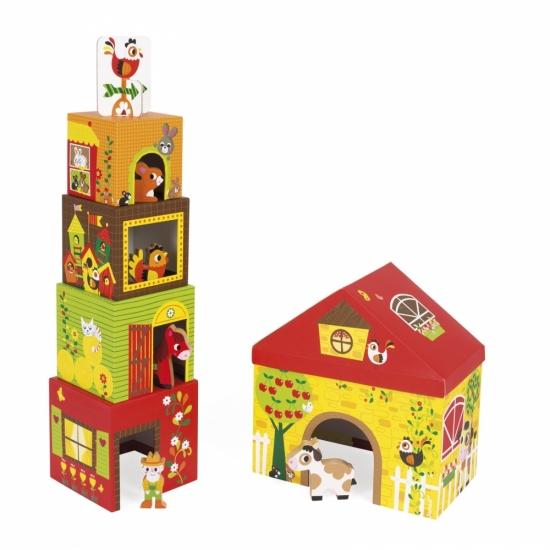 Janod Кубики картонные - Ферма