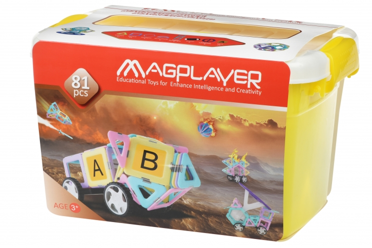 MagPlayer Конструктор магнитный набор бокс 81 эл. (MPT2-81)