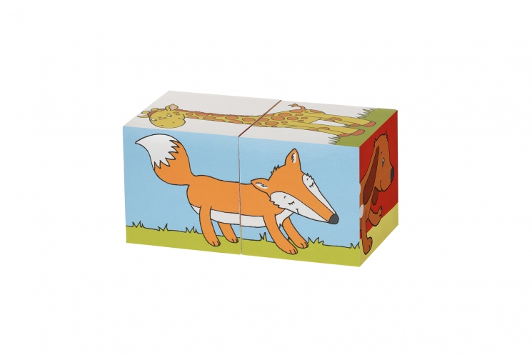 goki Кубики деревянные Животные