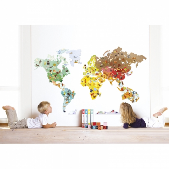 Janod Игра-стикер Карта мира с животными