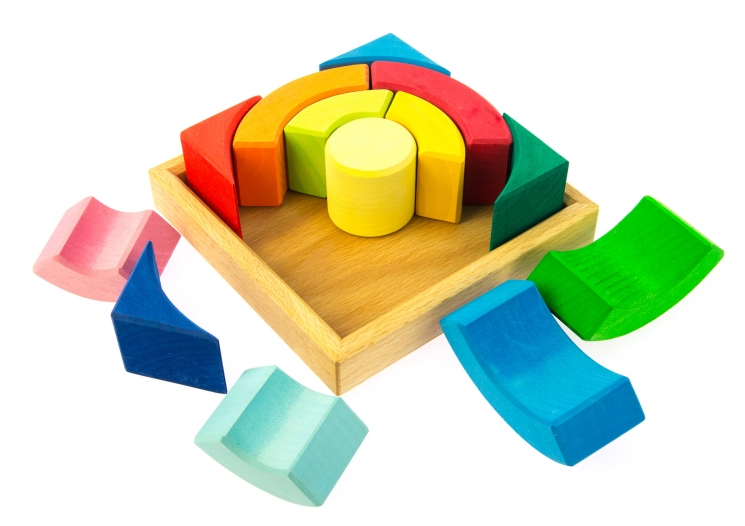 nic Конструктор деревянный Разноцветный круг