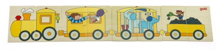 goki Деревянный пазл Цветной паровоз