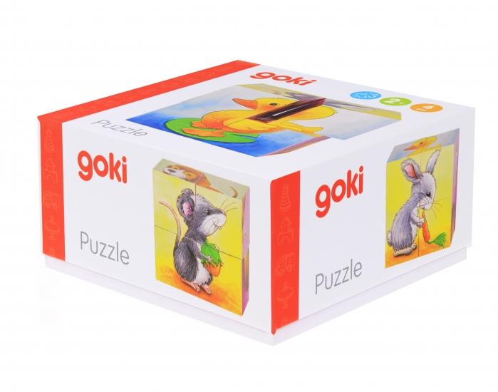 goki Кубики деревянные Зверюшки