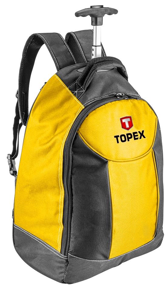 Topex 79R450 Рюкзак для инструмента, полиэстер, 25 внутр.карм, телеск. ручка, колеса, регулируемые лямки
