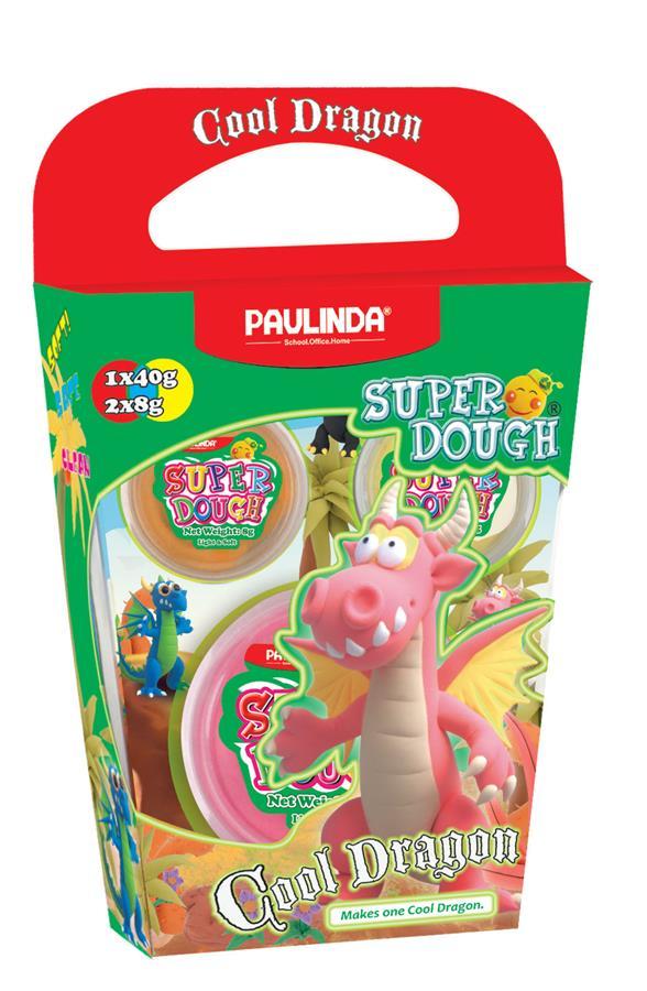 PAULINDA Масса для лепки Super Dough Cool Dragon Дракон (розовый)