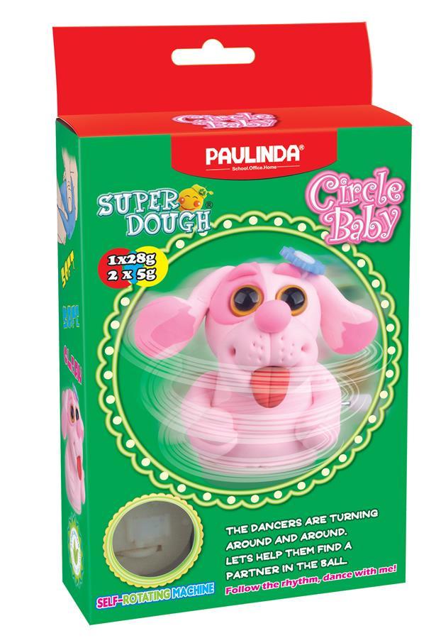 PAULINDA Масса для лепки Super Dough Circle Baby Собака заводной механизм (розовая)