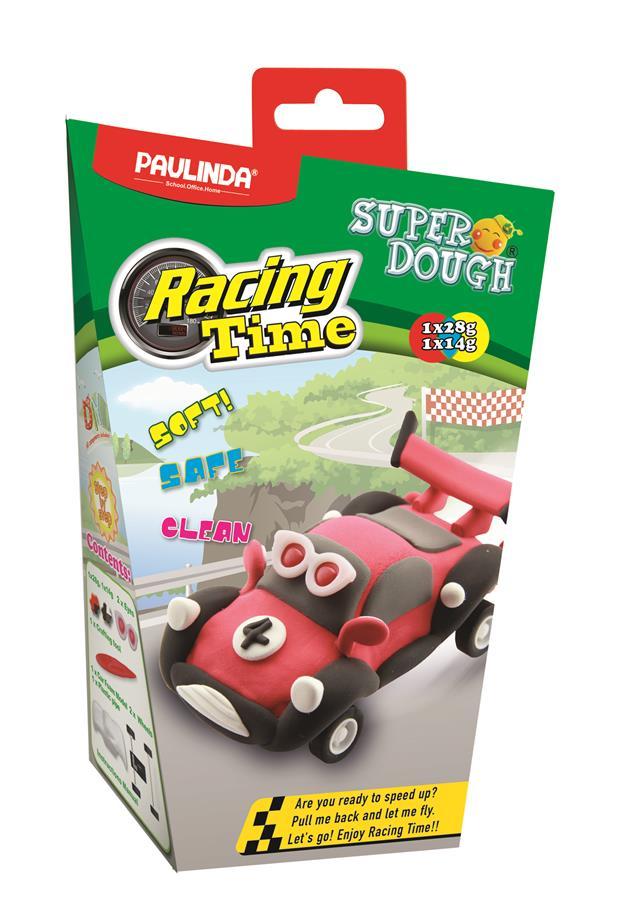 PAULINDA Маса для ліплення Super Dough Racing time Машинка (червона) інерційний механізм
