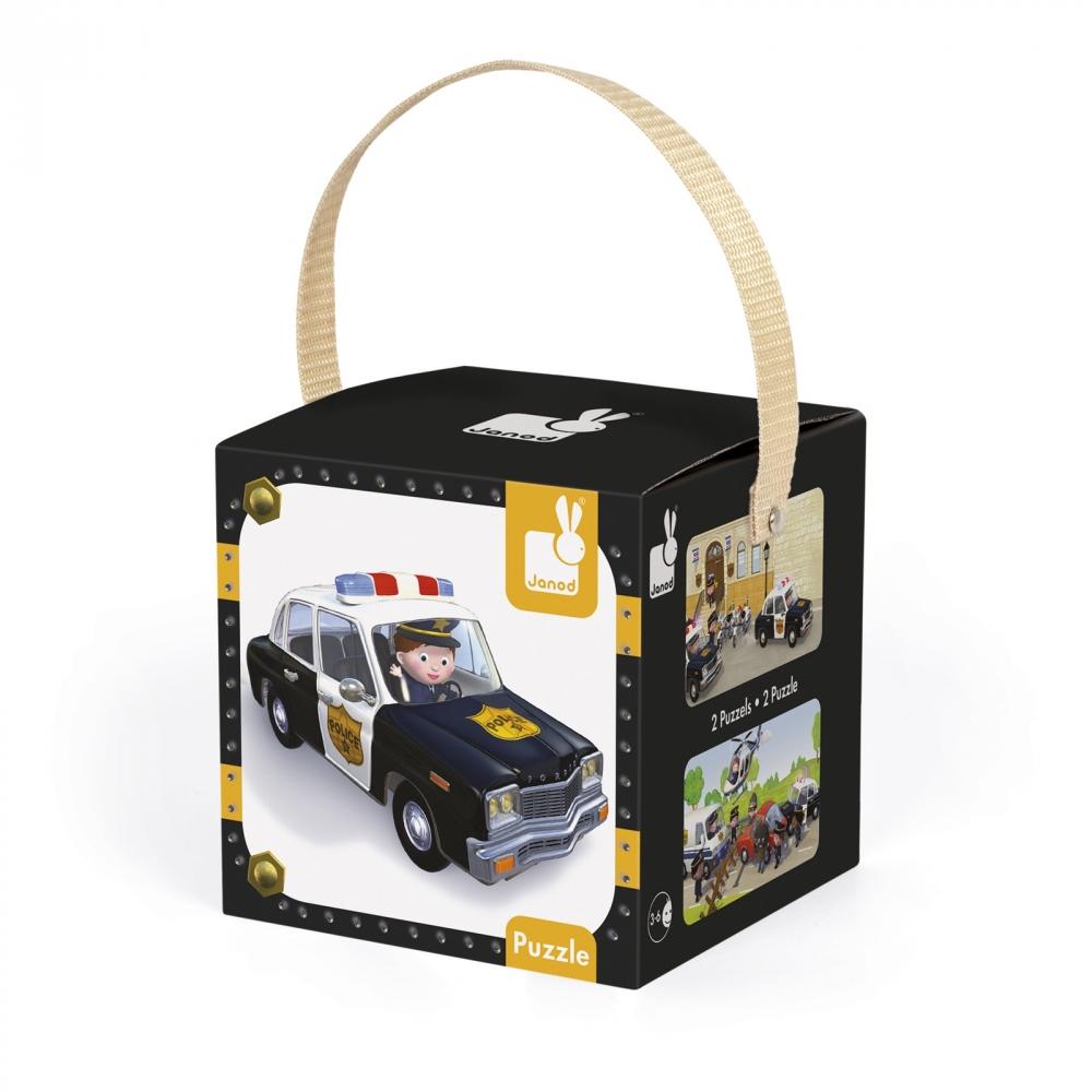 Janod Набір з 2 пазлів - Поліцейська машина