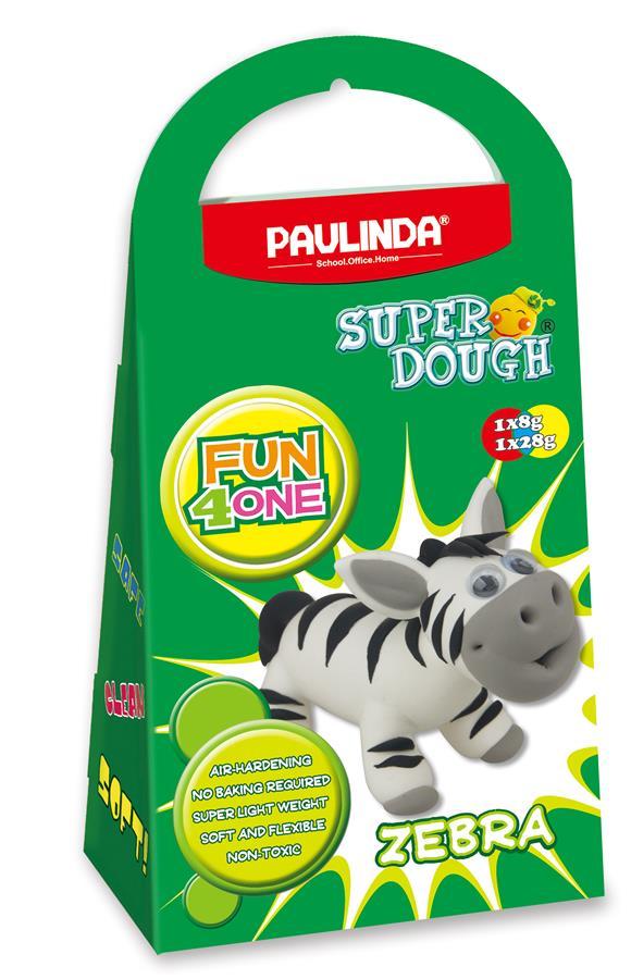 PAULINDA Масса для лепки Super Dough Fun4one Зебра (подвижные глаза)