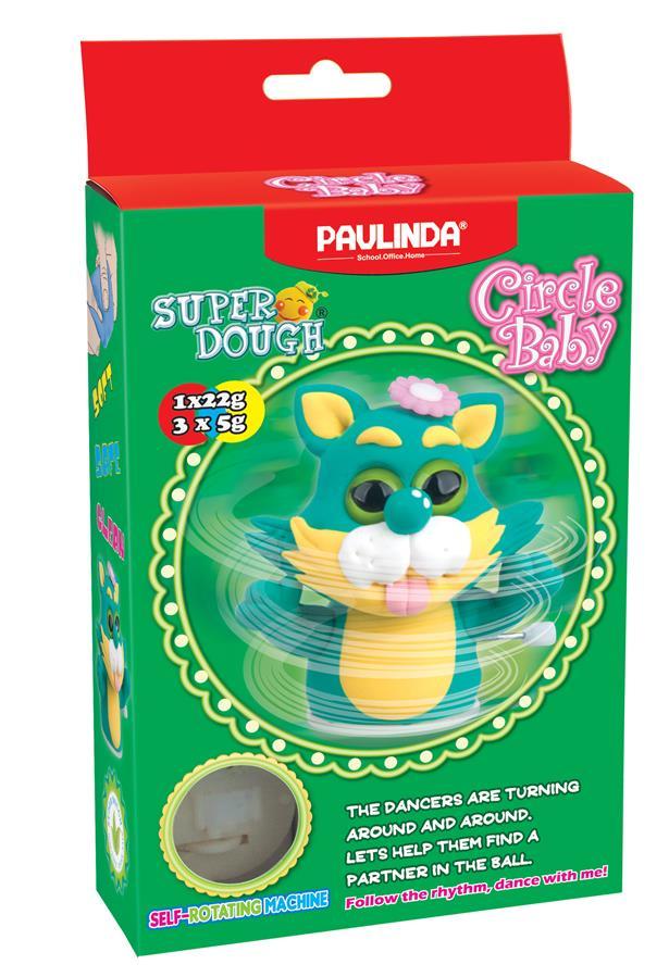 PAULINDA Масса для лепки Super Dough Circle Baby Кот заводной механизм (зеленый)