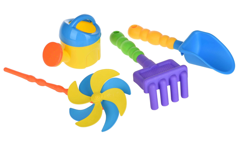 Same Toy Набір для гри з піском із Повітряною вертушкою (жовта лійка) 4шт.