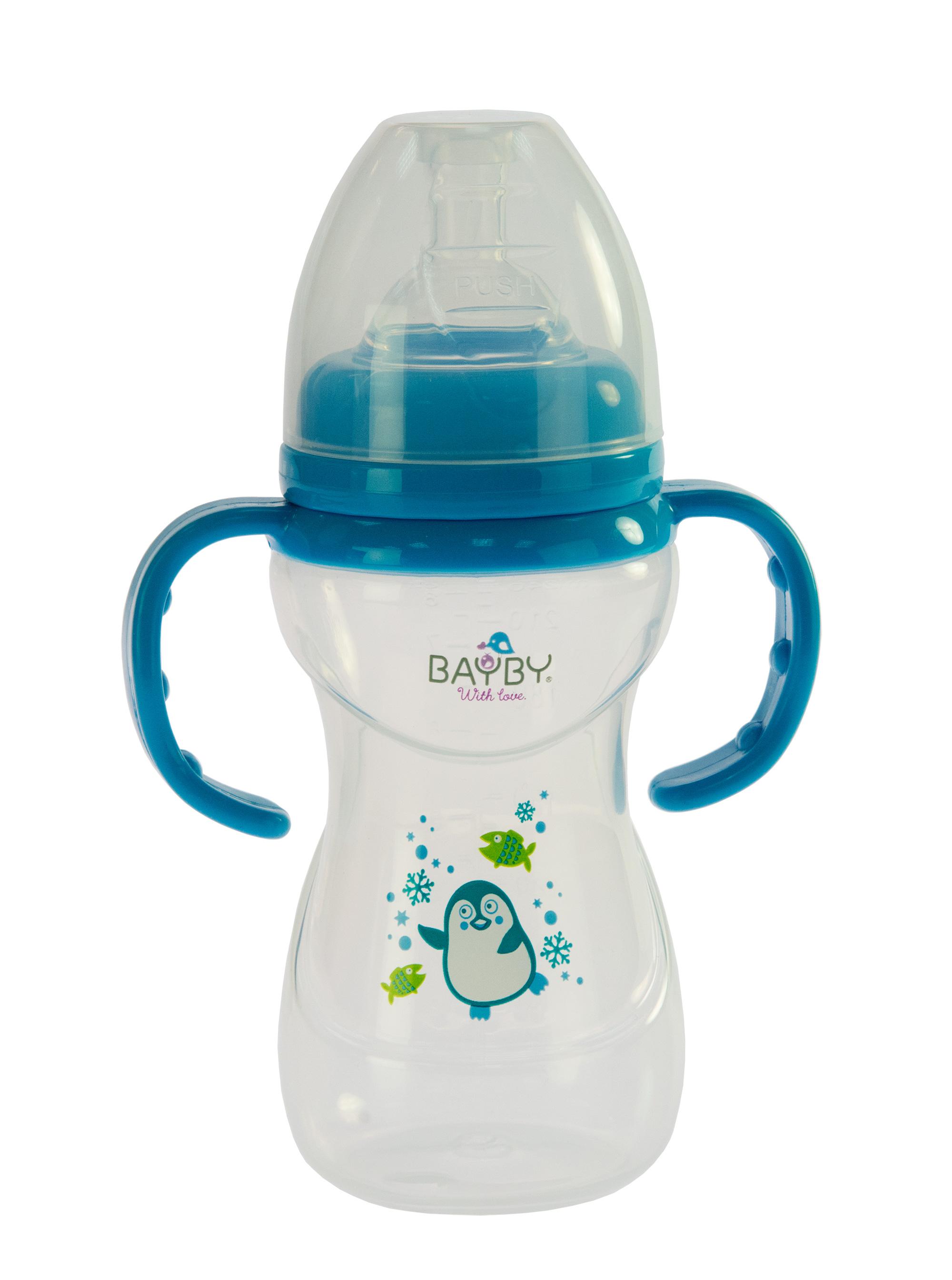 Bayby Бутылочка для кормления 240 мл 6м+ синяя