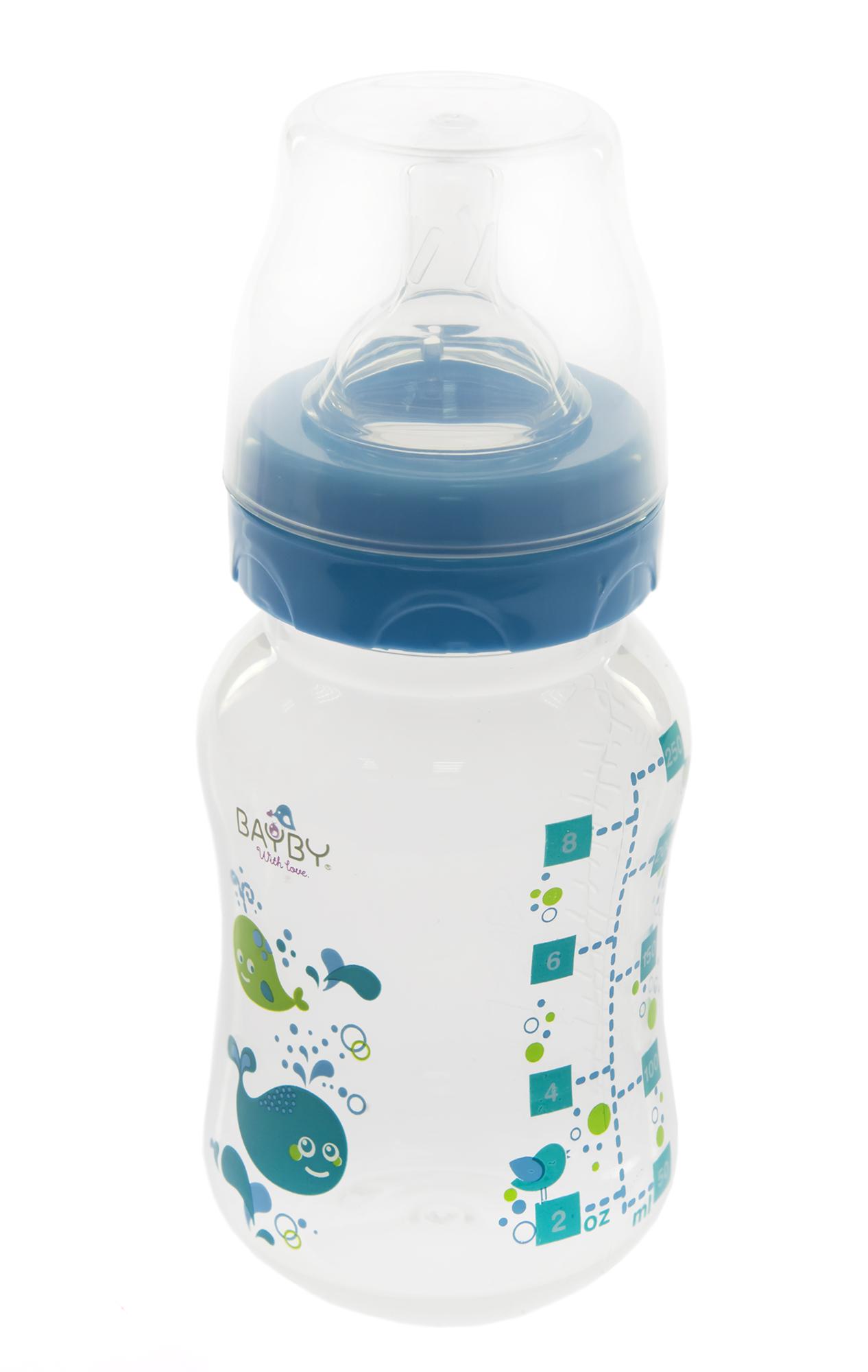 Bayby Бутылочка для кормления 250 мл 0м+ синяя