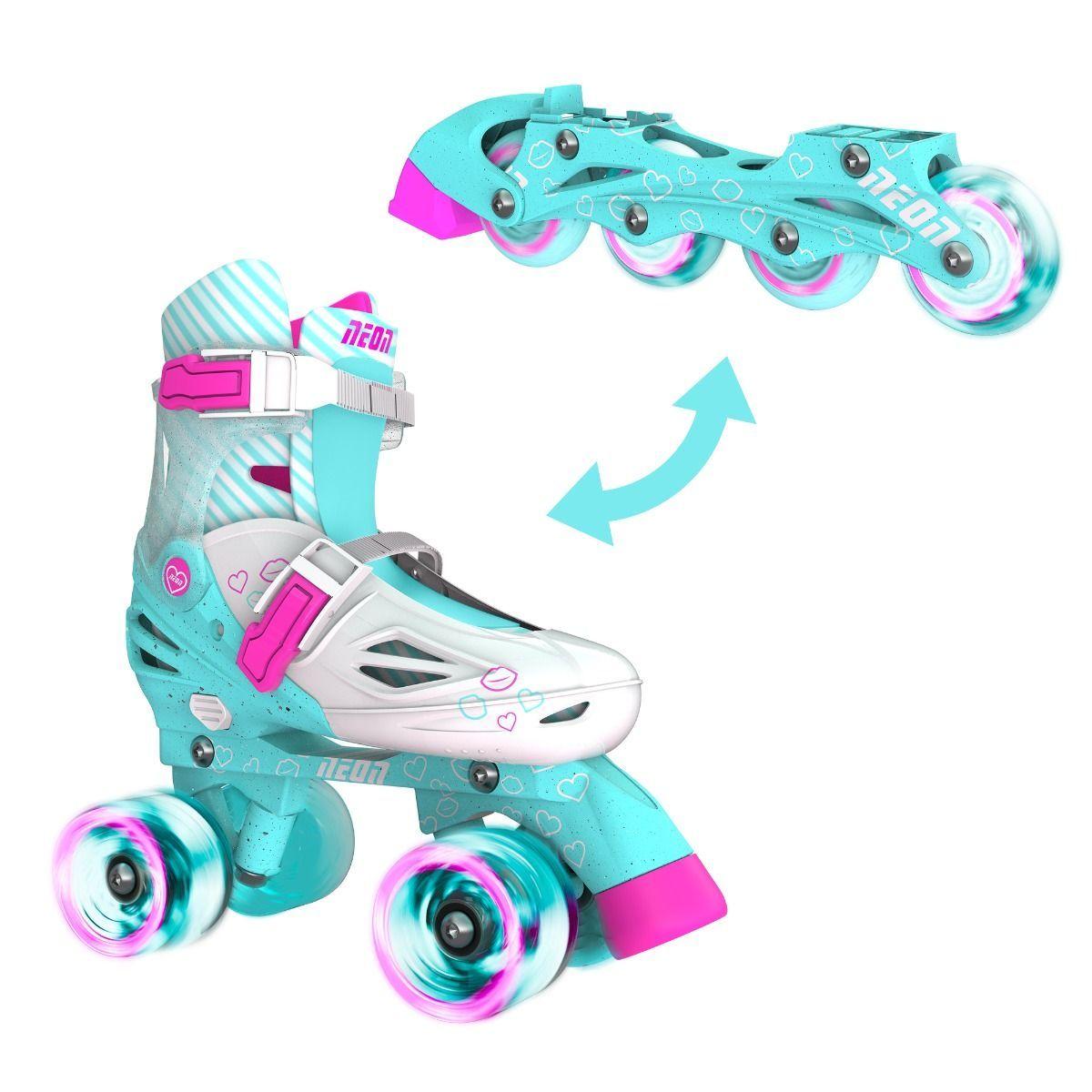 NEON Ролики Combo Skates[Бирюзовый (Размер 34-38)]