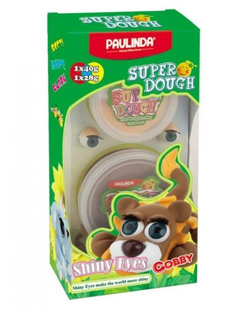 PAULINDA Масса для лепки Super Dough Shiny Eyes Лев Cobby глянцевые глаза