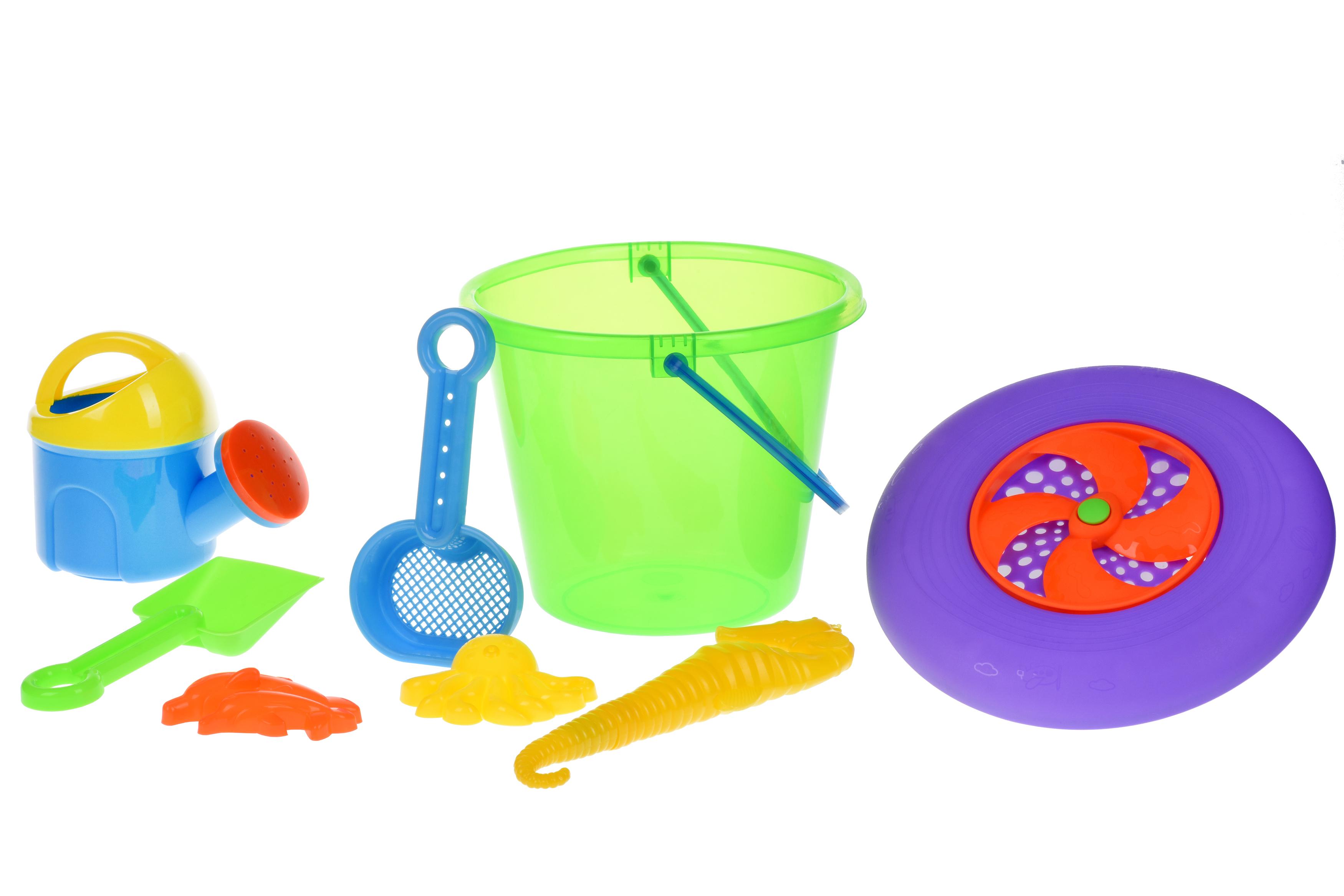 Same Toy Набір для гри з піском із Літаючою тарілкою (зелене відерце) (8 шт.)