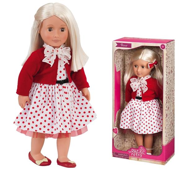 393403eb568c99 Лялька Our Generation Роза зростом 46 см має чудове вбрання 50-х років.  Нехай дівчинка потрапить на крок назад у часі з цієї чарівною ретро-лялькою.