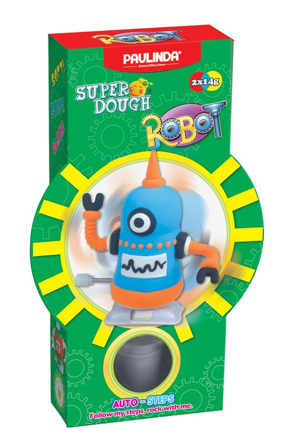 PAULINDA Масса для лепки Super Dough Robot заводной механизм (шагает) (голубой)